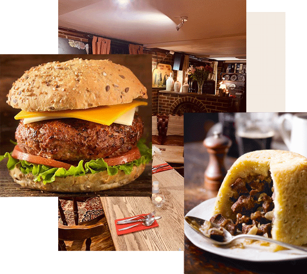 burger, steak pudding, bar layout